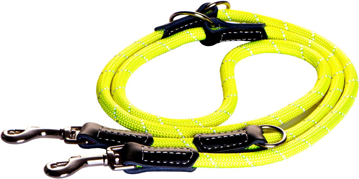 Поводок-перестежка для собак Rogz Rope, цвет: желтый, ширина 1,2 см. Размер L0120710Поводок перестежка для собак Rogz Rope выполнен из очень мягкого, но прочного нейлона, который не причинит неудобства собаке. Высококачественная тесьма особого плетения, удивительно мягкая на ощупь, не стирает и не путает шерсть даже длинношерстным собакам. Особо прочный закругленный нейлон препятствует разгрызанию и деформации изделий. Выполненные по заказу литые кольца выдерживают значительные физические нагрузки и имеют хромирование, нанесенное гальваническим способом, что позволяет избежать коррозии и потускнения изделия.Светоотражающая нить, вплетенная в нейлоновую ленту, обеспечивает видимость животного в темное время суток.Многофункциональный поводок-перестежку можно использовать как: поводок для двух собак; короткий, средний или удлиненный поводок (1м, 1.3м, 1.6м); поводок через плечо; временную привязь.Элементы изделия выполнены из 100% кожи.