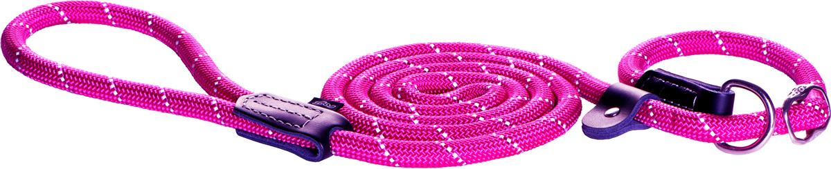 Поводок для собак Rogz Rope, цвет: розовый, толщина 0,9 см, длина 180 см. Размер MSJ01BSПоводок для собак Rogz Rope выполнен из очень мягкого, но прочного нейлона, который не причинит неудобства собаке. Высококачественная тесьма особого плетения, удивительно мягкая на ощупь, не стирает и не путает шерсть даже длинношерстным собакам. Особо прочный закругленный нейлон препятствует разгрызанию и деформации изделий, а узкая поверхность ошейников-полуудавок помогает при дрессуре, мешая собаке тянуть поводок.Выполненные по заказу литые кольца выдерживают значительные физические нагрузки и имеют хромирование, нанесенное гальваническим способом, что позволяет избежать коррозии и потускнения изделия.Светоотражающая нить, вплетенная в нейлоновую ленту, обеспечивает видимость животного в темное время суток. Максимальная длина поводка: 1,8 м.Толщина поводка: 0,9 см.