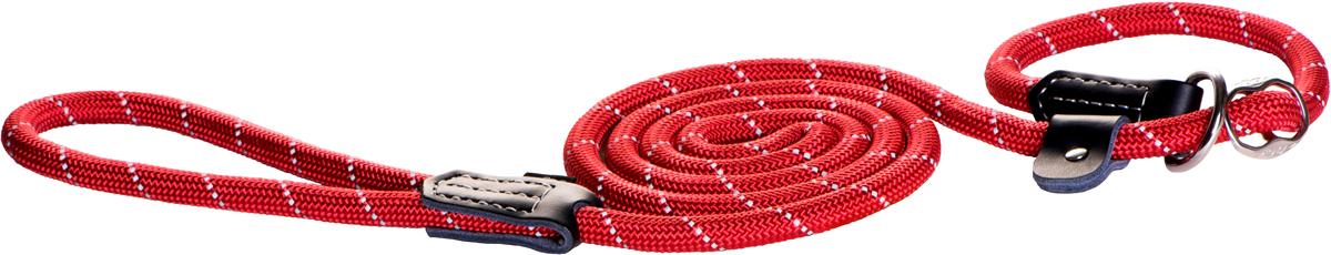 Поводок-удавка для собак Rogz Rope, цвет: красный, ширина 1,2 см. Размер LHL02BSПоводок-удавка для собак Rogz Rope выполнен из очень мягкого, но прочного нейлона, который не причинит неудобства собаке. Высококачественная тесьма особого плетения, удивительно мягкая на ощупь, не стирает и не путает шерсть даже длинношерстным собакам. Особо прочный закругленный нейлон препятствует разгрызанию и деформации изделий, а узкая поверхность ошейников - полуудавок помогает при дрессуре, мешая собаке тянуть поводок.Выполненные по заказу литые кольца выдерживают значительные физические нагрузки и имеют хромирование, нанесенное гальваническим способом, что позволяет избежать коррозии и потускнения изделия.Светоотражающая нить, вплетенная в нейлоновую ленту, обеспечивает видимость животного в темное время суток.Элементы изделия выполнены из 100% кожи.