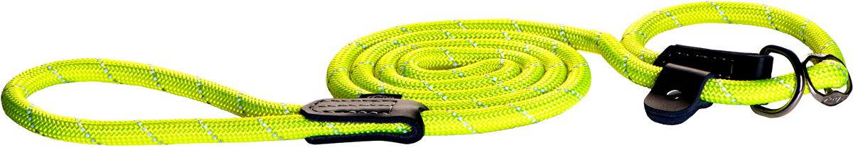 Поводок-удавка для собак Rogz Rope, цвет: желтый, ширина 1,2 см. Размер L0120710Поводок-удавка для собак Rogz Rope выполнен из очень мягкого, но прочного нейлона, который не причинит неудобства собаке. Высококачественная тесьма особого плетения, удивительно мягкая на ощупь, не стирает и не путает шерсть даже длинношерстным собакам. Особо прочный закругленный нейлон препятствует разгрызанию и деформации изделий, а узкая поверхность ошейников - полуудавок помогает при дрессуре, мешая собаке тянуть поводок.Выполненные по заказу литые кольца выдерживают значительные физические нагрузки и имеют хромирование, нанесенное гальваническим способом, что позволяет избежать коррозии и потускнения изделия.Светоотражающая нить, вплетенная в нейлоновую ленту, обеспечивает видимость животного в темное время суток.Элементы изделия выполнены из 100% кожи.