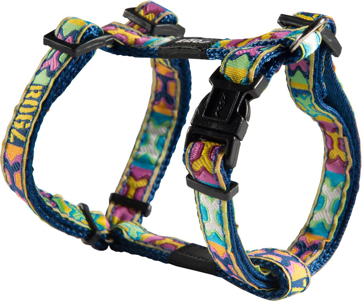 Шлейка для собак Rogz Fancy Dress, цвет: синий, ширина 1,1 см0120710Шлейка для собак Rogz Fancy Dress имеет необычный дизайн. Широкая гамма потрясающе красивых орнаментов на прочной тесьме поверх нейлоновой ленты украсит вашего питомца.Застегивается, не доставляя неудобство собаке.Специальная конструкция пряжки Rog Loc - очень крепкая(система Fort Knox). Замок может быть расстегнут только рукой человека.С помощью системы ремней изделие подгоняется под животного индивидуально.Необыкновенно крепкая и прочная шлейка.Выполненные по заказу литые кольца выдерживают значительные физические нагрузки и имеют хромирование, нанесенное гальваническим способом, что позволяет избежать коррозии и потускнения изделия.Легко можно прикрепить к ошейнику и поводку.