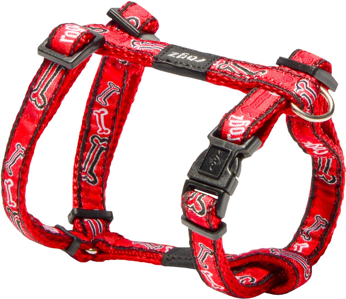 Шлейка для собак Rogz Fancy Dress, цвет: красный, ширина 1,1 см0120710Шлейка для собак Rogz Fancy Dress имеет необычный дизайн. Широкая гамма потрясающе красивых орнаментов на прочной тесьме поверх нейлоновой ленты украсит вашего питомца.Застегивается, не доставляя неудобство собаке.Специальная конструкция пряжки Rog Loc - очень крепкая(система Fort Knox). Замок может быть расстегнут только рукой человека.С помощью системы ремней изделие подгоняется под животного индивидуально.Необыкновенно крепкая и прочная шлейка.Выполненные по заказу литые кольца выдерживают значительные физические нагрузки и имеют хромирование, нанесенное гальваническим способом, что позволяет избежать коррозии и потускнения изделия.Легко можно прикрепить к ошейнику и поводку.