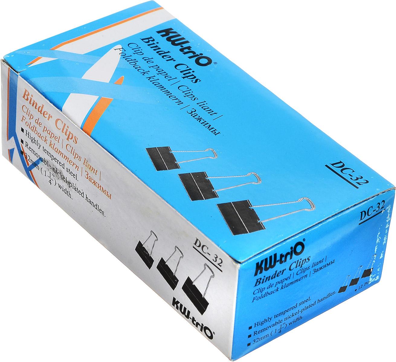 KW-Тrio Зажим для бумаг цвет черный 32 мм 12 шт99071Зажим для бумаг KW-Тrio предназначен для скрепления бумажных носителей. Зажим выполнен из металла.В упаковке 12 зажимов черного цвета. Они надежно и легко скрепляют, не деформируют бумагу, не оставляют на ней следов.