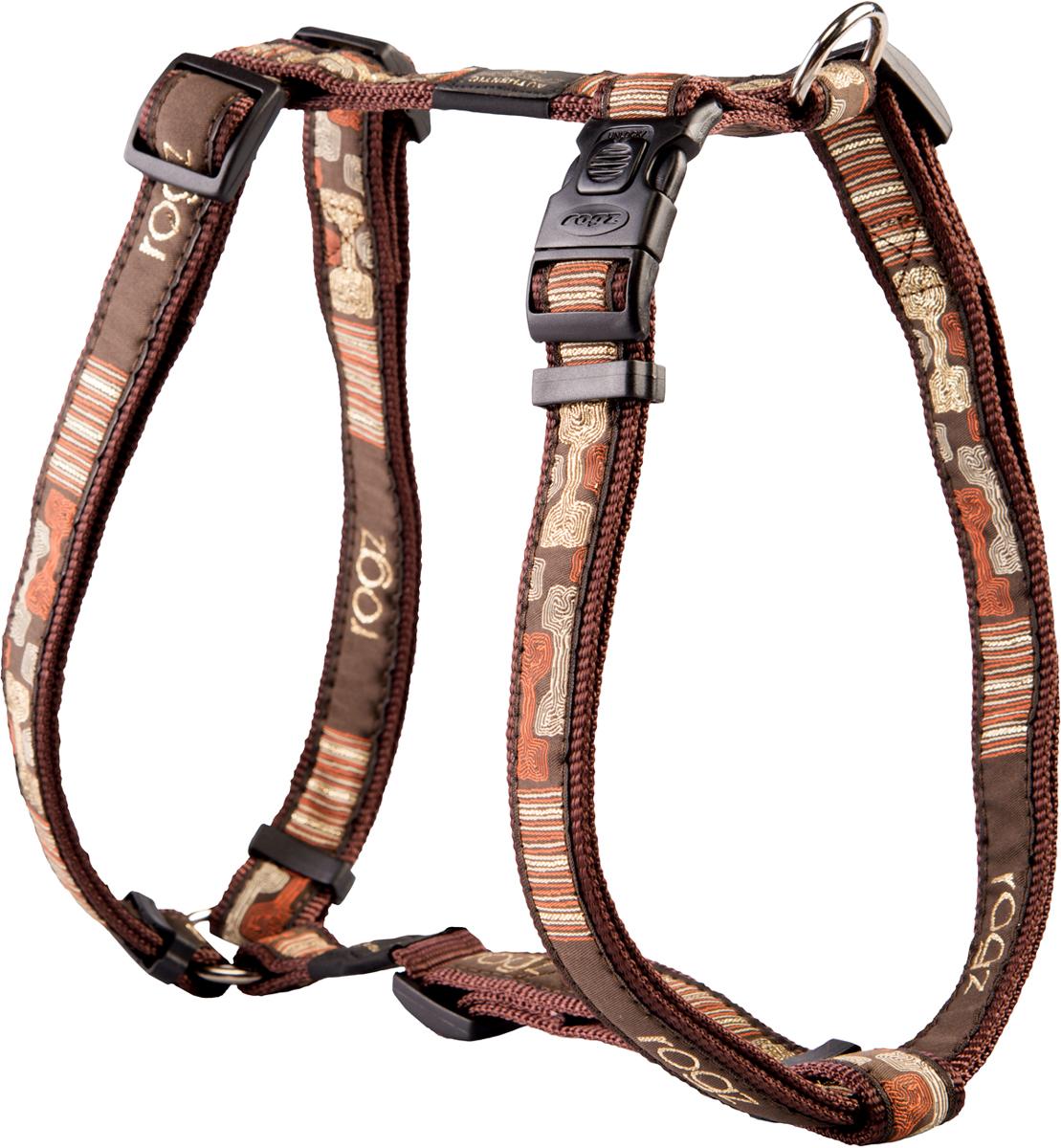 Шлейка для собак Rogz Fancy Dress, цвет: коричневый, ширина 2,5 см0120710Шлейка для собак Rogz Fancy Dress имеет необычный дизайн. Широкая гамма потрясающе красивых орнаментов на прочной тесьме поверх нейлоновой ленты украсит вашего питомца.Застегивается, не доставляя неудобство собаке.Специальная конструкция пряжки Rog Loc - очень крепкая(система Fort Knox). Замок может быть расстегнут только рукой человека.С помощью системы ремней изделие подгоняется под животного индивидуально.Необыкновенно крепкая и прочная шлейка.Выполненные по заказу литые кольца выдерживают значительные физические нагрузки и имеют хромирование, нанесенное гальваническим способом, что позволяет избежать коррозии и потускнения изделия.Легко можно прикрепить к ошейнику и поводку.