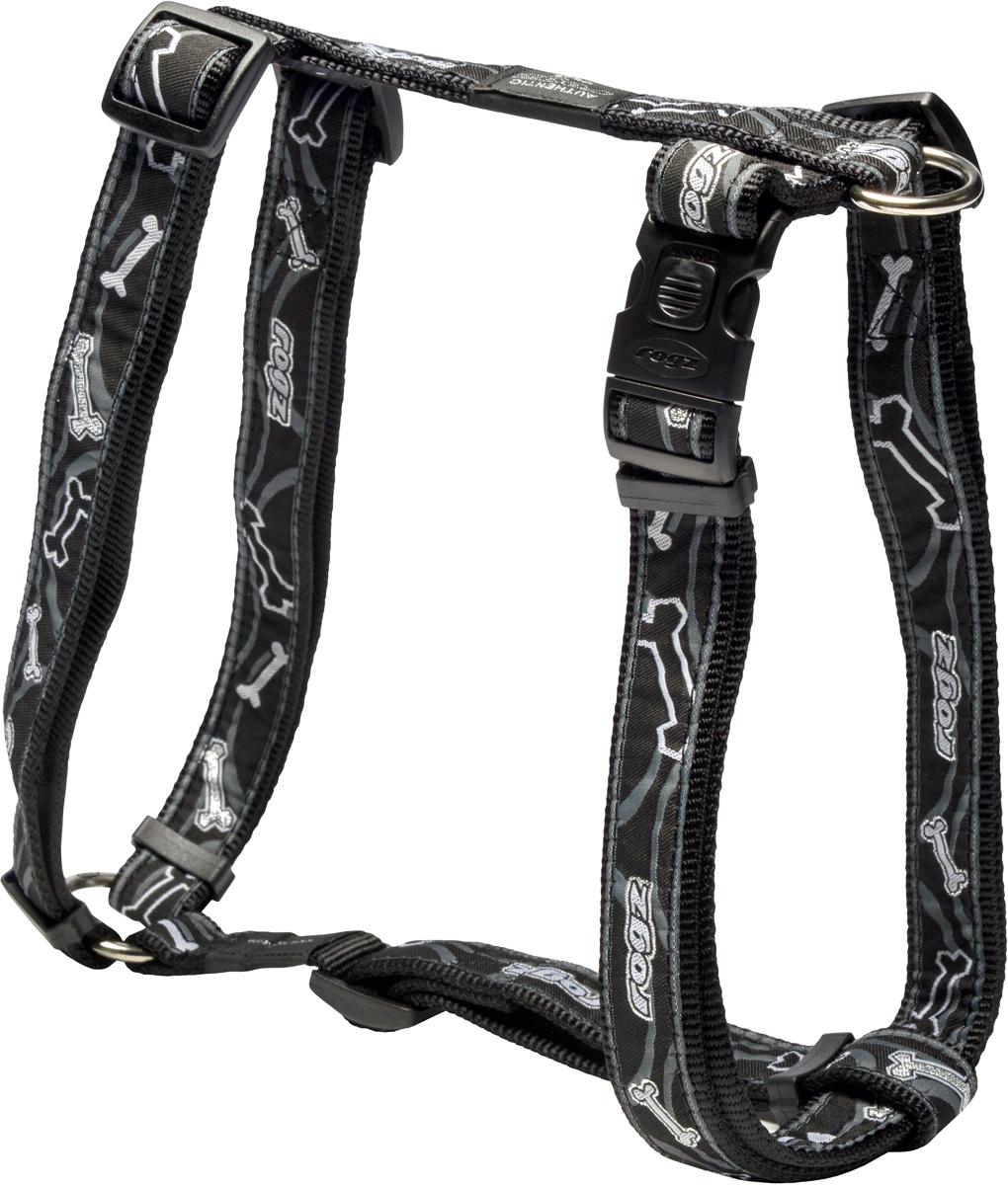 Шлейка для собак Rogz Fancy Dress, цвет: черный, ширина 2,5 смSJ02CBШлейка для собак Rogz Fancy Dress имеет необычный дизайн. Широкая гамма потрясающе красивых орнаментов на прочной тесьме поверх нейлоновой ленты украсит вашего питомца.Застегивается, не доставляя неудобство собаке.Специальная конструкция пряжки Rog Loc - очень крепкая(система Fort Knox). Замок может быть расстегнут только рукой человека.С помощью системы ремней изделие подгоняется под животного индивидуально.Необыкновенно крепкая и прочная шлейка.Выполненные по заказу литые кольца выдерживают значительные физические нагрузки и имеют хромирование, нанесенное гальваническим способом, что позволяет избежать коррозии и потускнения изделия.Легко можно прикрепить к ошейнику и поводку.