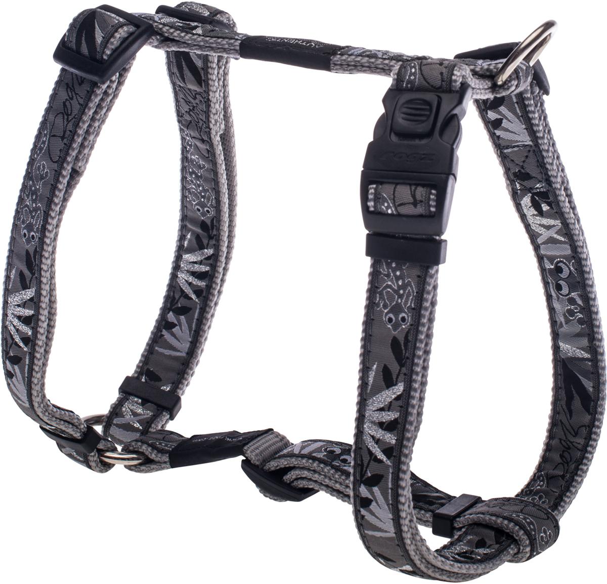 Шлейка для собак Rogz Fancy Dress, цвет: серый, ширина 2 см0120710Шлейка для собак Rogz Fancy Dress имеет необычный дизайн. Широкая гамма потрясающе красивых орнаментов на прочной тесьме поверх нейлоновой ленты украсит вашего питомца.Застегивается, не доставляя неудобство собаке.Специальная конструкция пряжки Rog Loc - очень крепкая(система Fort Knox). Замок может быть расстегнут только рукой человека.С помощью системы ремней изделие подгоняется под животного индивидуально.Необыкновенно крепкая и прочная шлейка.Выполненные по заказу литые кольца выдерживают значительные физические нагрузки и имеют хромирование, нанесенное гальваническим способом, что позволяет избежать коррозии и потускнения изделия.Легко можно прикрепить к ошейнику и поводку.