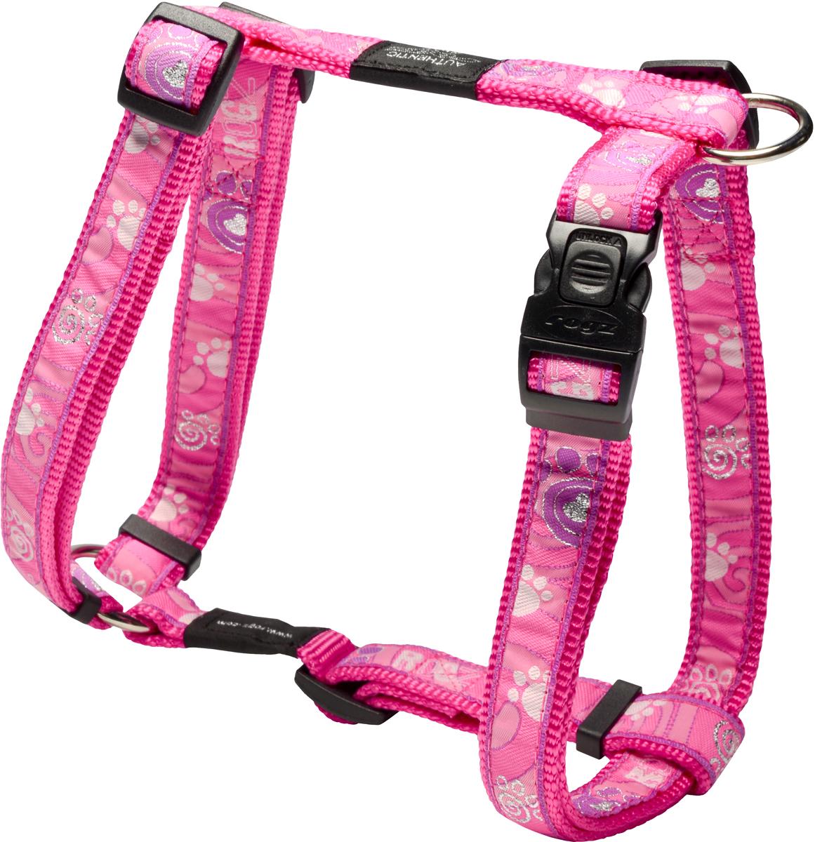 Шлейка для собак Rogz Fancy Dress, цвет: розовый, ширина 2 см12171996Шлейка для собак Rogz Fancy Dress имеет необычный дизайн. Широкая гамма потрясающе красивых орнаментов на прочной тесьме поверх нейлоновой ленты украсит вашего питомца.Застегивается, не доставляя неудобство собаке.Специальная конструкция пряжки Rog Loc - очень крепкая(система Fort Knox). Замок может быть расстегнут только рукой человека.С помощью системы ремней изделие подгоняется под животного индивидуально.Необыкновенно крепкая и прочная шлейка.Выполненные по заказу литые кольца выдерживают значительные физические нагрузки и имеют хромирование, нанесенное гальваническим способом, что позволяет избежать коррозии и потускнения изделия.Легко можно прикрепить к ошейнику и поводку.
