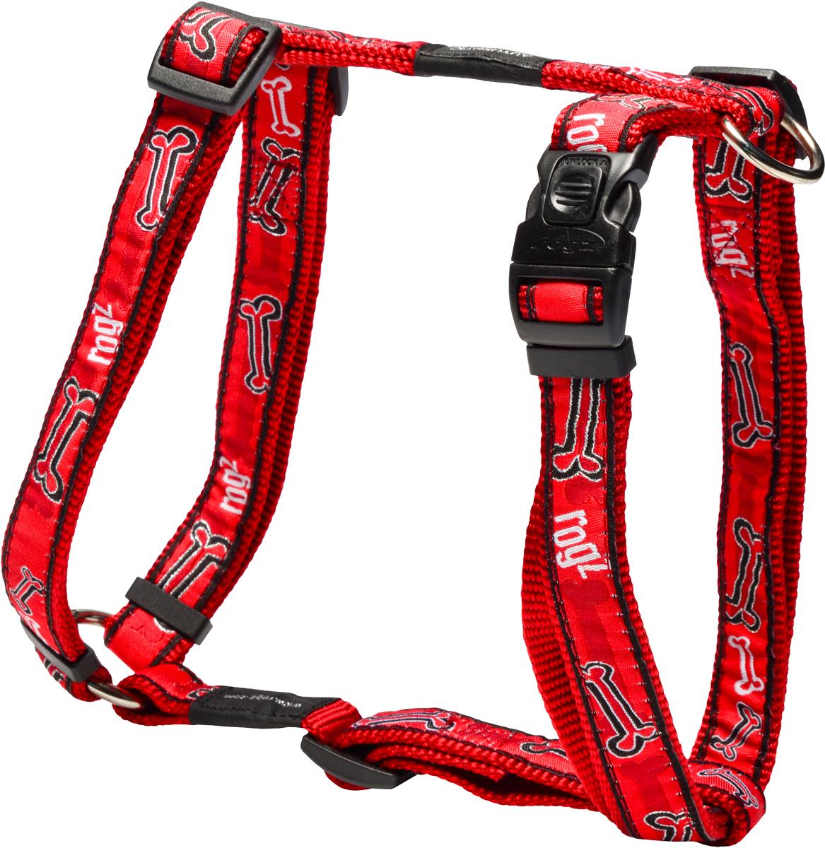 Шлейка для собак Rogz Fancy Dress, цвет: красный, ширина 2 смHB03CCШлейка для собак Rogz Fancy Dress имеет необычный дизайн. Широкая гамма потрясающе красивых орнаментов на прочной тесьме поверх нейлоновой ленты украсит вашего питомца.Застегивается, не доставляя неудобство собаке.Специальная конструкция пряжки Rog Loc - очень крепкая(система Fort Knox). Замок может быть расстегнут только рукой человека.С помощью системы ремней изделие подгоняется под животного индивидуально.Необыкновенно крепкая и прочная шлейка.Выполненные по заказу литые кольца выдерживают значительные физические нагрузки и имеют хромирование, нанесенное гальваническим способом, что позволяет избежать коррозии и потускнения изделия.Легко можно прикрепить к ошейнику и поводку.