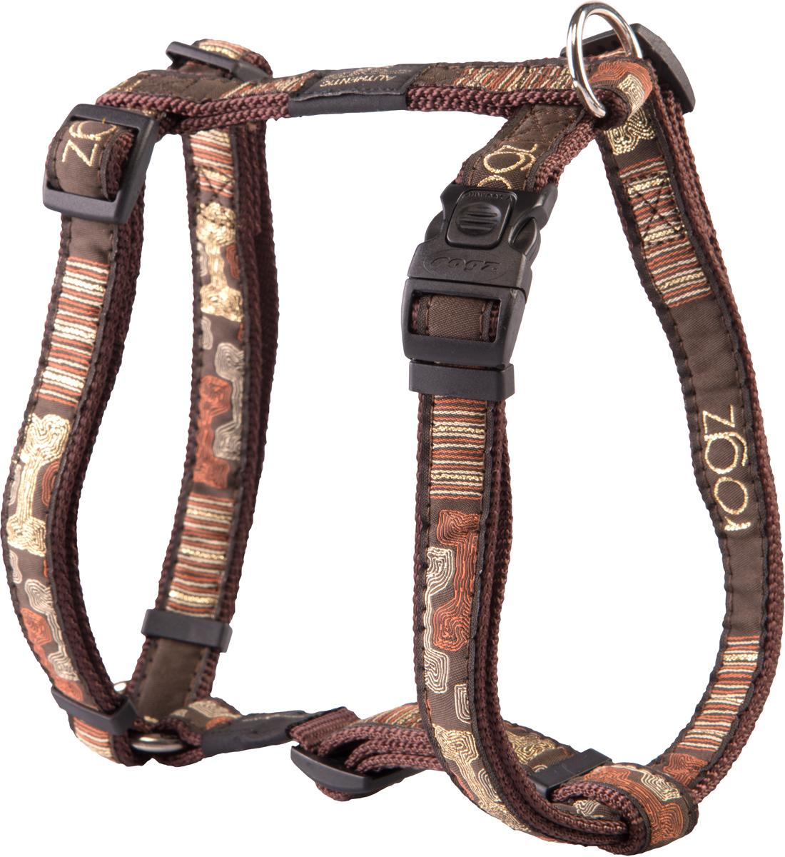 Шлейка для собак Rogz Fancy Dress, цвет: коричневый, ширина 2 смSJ03CEШлейка для собак Rogz Fancy Dress имеет необычный дизайн. Широкая гамма потрясающе красивых орнаментов на прочной тесьме поверх нейлоновой ленты украсит вашего питомца.Застегивается, не доставляя неудобство собаке.Специальная конструкция пряжки Rog Loc - очень крепкая(система Fort Knox). Замок может быть расстегнут только рукой человека.С помощью системы ремней изделие подгоняется под животного индивидуально.Необыкновенно крепкая и прочная шлейка.Выполненные по заказу литые кольца выдерживают значительные физические нагрузки и имеют хромирование, нанесенное гальваническим способом, что позволяет избежать коррозии и потускнения изделия.Легко можно прикрепить к ошейнику и поводку.