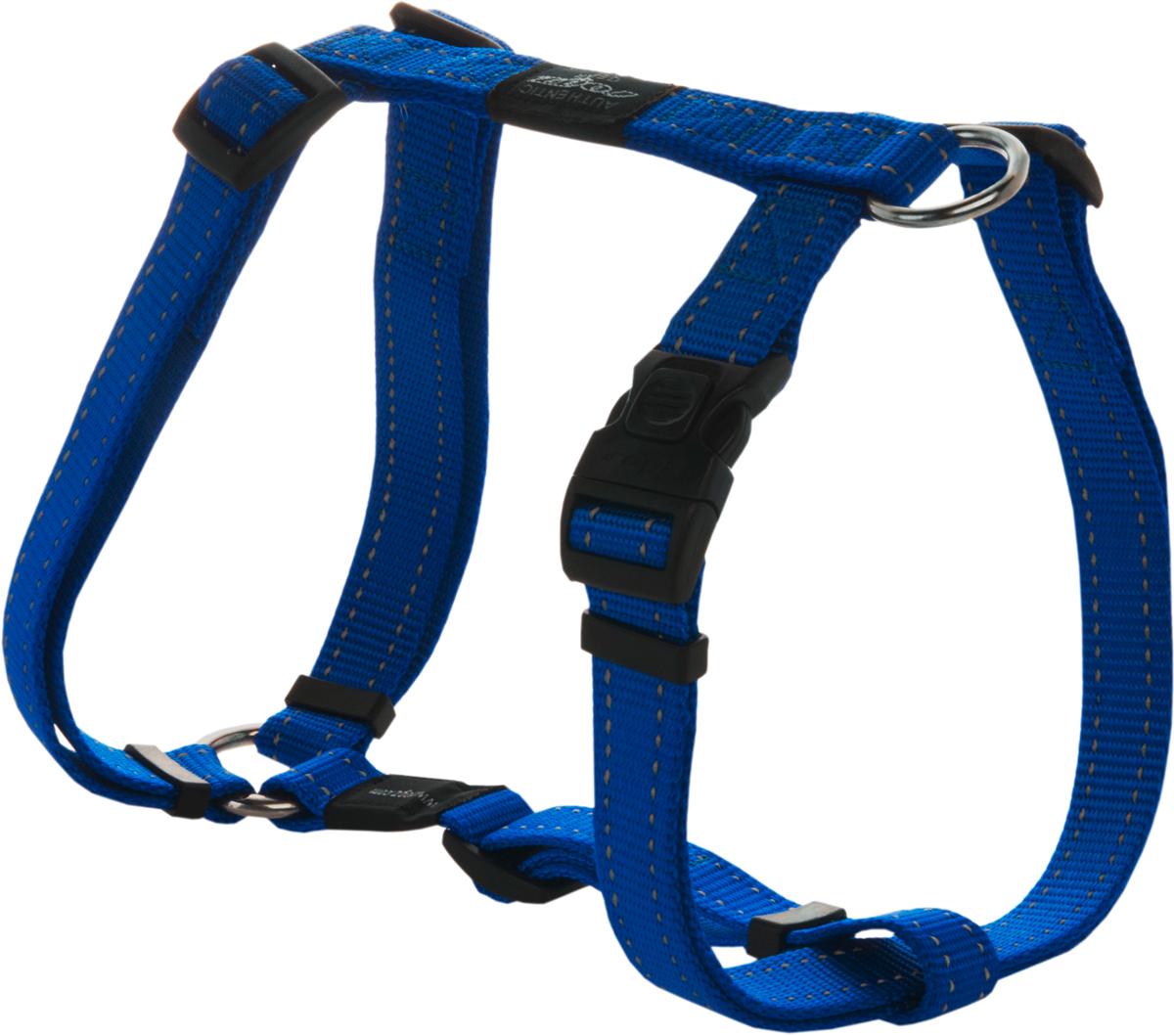Шлейка для собак Rogz Utility, цвет: синий, ширина 2 см. Размер L0120710Шлейка для собак Rogz Utility со светоотражающей нитью, вплетенной в нейлоновую ленту, обеспечивает лучшую видимость собаки в темное время суток. Специальная конструкция пряжки Rog Loc - очень крепкая (система Fort Knox). Замок может быть расстегнут только рукой человека. Технология распределения нагрузки позволяет снизить нагрузку на пряжки, изготовленные из титанового пластика, с помощью правильного и разумного расположения грузовых колец, благодаря чему, даже при самых сильных рывках, изделие не рвется и не деформируется.Выполненные специально по заказу ROGZ литые кольца гальванически хромированы, что позволяет избежать коррозии и потускнения изделия.