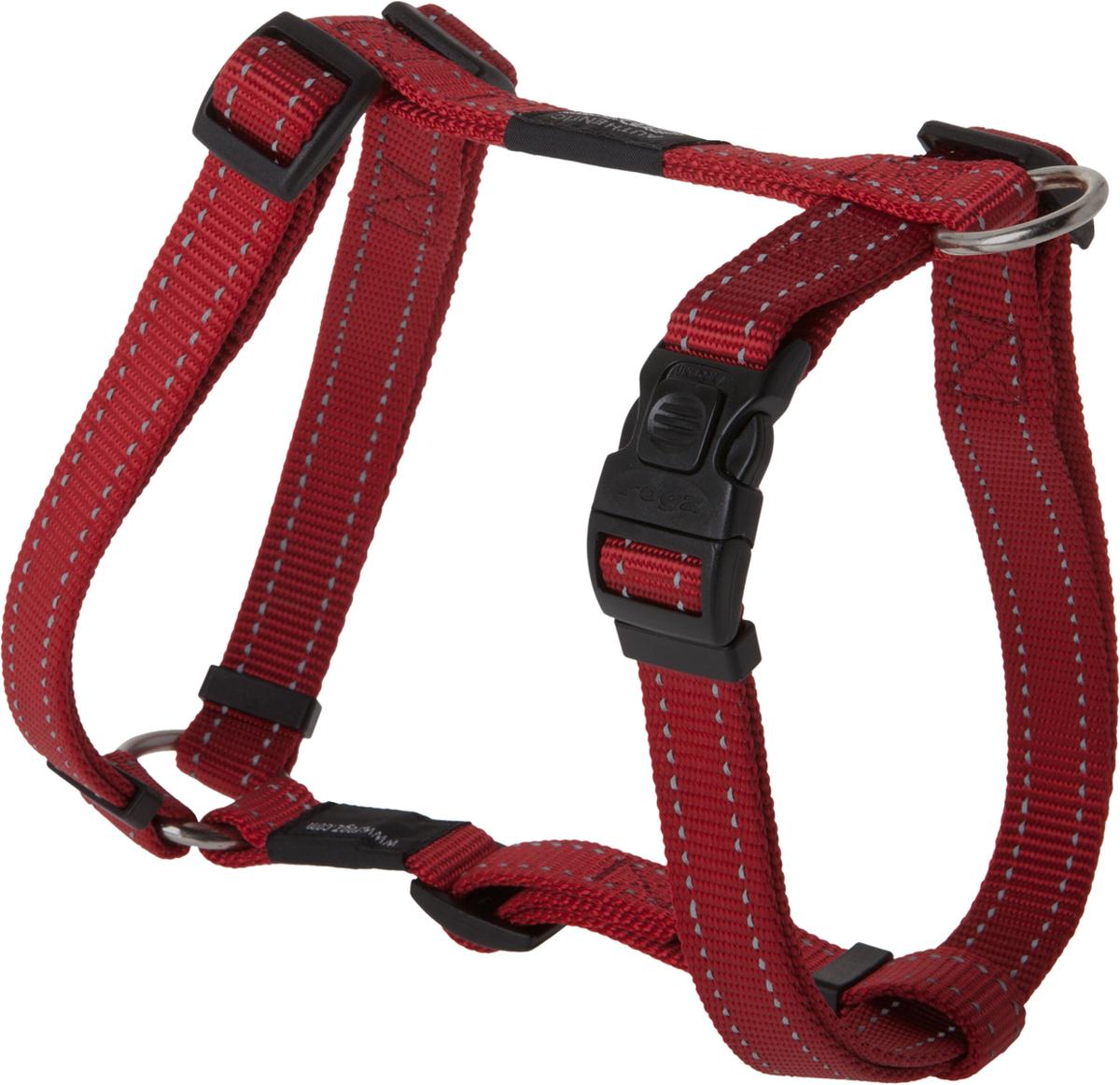 Шлейка для собак Rogz Utility, цвет: красный, ширина 2 см. Размер L12171996Шлейка для собак Rogz Utility со светоотражающей нитью, вплетенной в нейлоновую ленту, обеспечивает лучшую видимость собаки в темное время суток. Специальная конструкция пряжки Rog Loc - очень крепкая (система Fort Knox). Замок может быть расстегнут только рукой человека. Технология распределения нагрузки позволяет снизить нагрузку на пряжки, изготовленные из титанового пластика, с помощью правильного и разумного расположения грузовых колец, благодаря чему, даже при самых сильных рывках, изделие не рвется и не деформируется.Выполненные специально по заказу ROGZ литые кольца гальванически хромированы, что позволяет избежать коррозии и потускнения изделия.