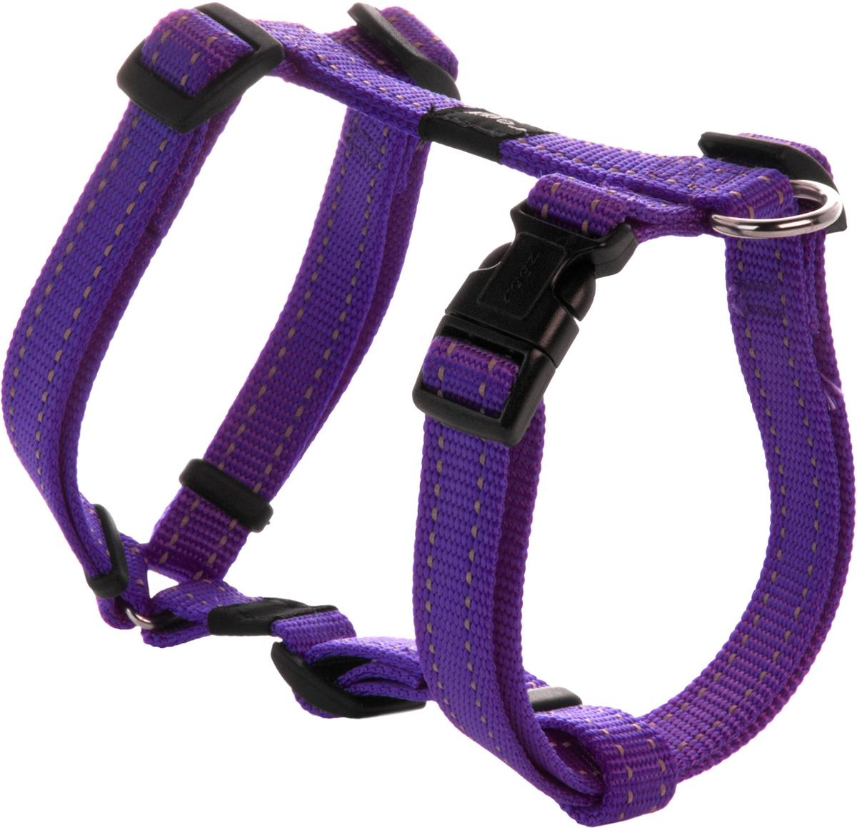 Шлейка для собак Rogz Utility, цвет: фиолетовый, ширина 1,6 см. Размер MSJ11EШлейка для собак Rogz Utility со светоотражающей нитью, вплетенной в нейлоновую ленту, обеспечивает лучшую видимость собаки в темное время суток. Специальная конструкция пряжки Rog Loc - очень крепкая (система Fort Knox). Замок может быть расстегнут только рукой человека. Технология распределения нагрузки позволяет снизить нагрузку на пряжки, изготовленные из титанового пластика, с помощью правильного и разумного расположения грузовых колец, благодаря чему, даже при самых сильных рывках, изделие не рвется и не деформируется.Выполненные специально по заказу ROGZ литые кольца гальванически хромированы, что позволяет избежать коррозии и потускнения изделия.