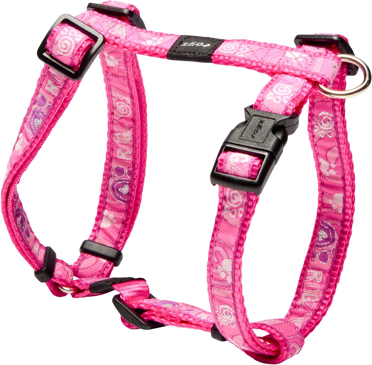 Шлейка для собак Rogz Fancy Dress, цвет: розовый, ширина 1,6 см12171996Шлейка для собак Rogz Fancy Dress имеет необычный дизайн. Широкая гамма потрясающе красивых орнаментов на прочной тесьме поверх нейлоновой ленты украсит вашего питомца.Застегивается, не доставляя неудобство собаке.Специальная конструкция пряжки Rog Loc - очень крепкая(система Fort Knox). Замок может быть расстегнут только рукой человека.С помощью системы ремней изделие подгоняется под животного индивидуально.Необыкновенно крепкая и прочная шлейка.Выполненные по заказу литые кольца выдерживают значительные физические нагрузки и имеют хромирование, нанесенное гальваническим способом, что позволяет избежать коррозии и потускнения изделия.Легко можно прикрепить к ошейнику и поводку.