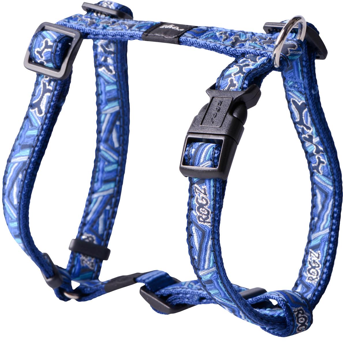 Шлейка для собак Rogz Fancy Dress, цвет: голубой, ширина 1,6 смSJ12CDШлейка для собак Rogz Fancy Dress имеет необычный дизайн. Широкая гамма потрясающе красивых орнаментов на прочной тесьме поверх нейлоновой ленты украсит вашего питомца.Застегивается, не доставляя неудобство собаке.Специальная конструкция пряжки Rog Loc - очень крепкая(система Fort Knox). Замок может быть расстегнут только рукой человека.С помощью системы ремней изделие подгоняется под животного индивидуально.Необыкновенно крепкая и прочная шлейка.Выполненные по заказу литые кольца выдерживают значительные физические нагрузки и имеют хромирование, нанесенное гальваническим способом, что позволяет избежать коррозии и потускнения изделия.Легко можно прикрепить к ошейнику и поводку.