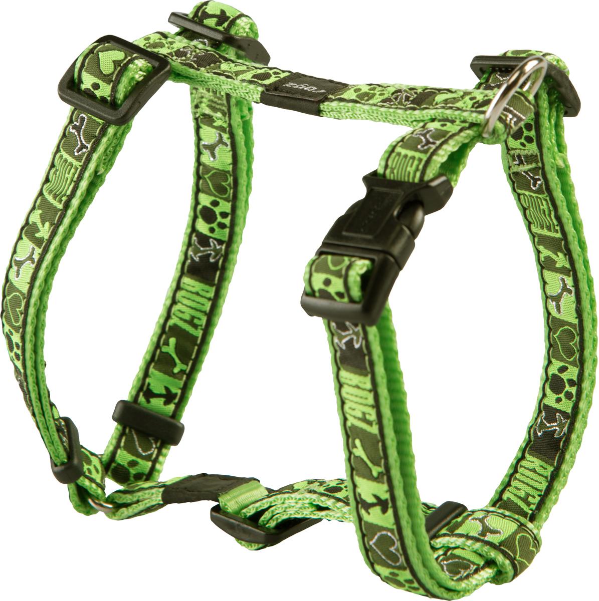 Шлейка для собак Rogz Fancy Dress, цвет: зеленый, ширина 1,6 смSJ12CFШлейка для собак Rogz Fancy Dress имеет необычный дизайн. Широкая гамма потрясающе красивых орнаментов на прочной тесьме поверх нейлоновой ленты украсит вашего питомца.Застегивается, не доставляя неудобство собаке.Специальная конструкция пряжки Rog Loc - очень крепкая(система Fort Knox). Замок может быть расстегнут только рукой человека.С помощью системы ремней изделие подгоняется под животного индивидуально.Необыкновенно крепкая и прочная шлейка.Выполненные по заказу литые кольца выдерживают значительные физические нагрузки и имеют хромирование, нанесенное гальваническим способом, что позволяет избежать коррозии и потускнения изделия.Легко можно прикрепить к ошейнику и поводку.