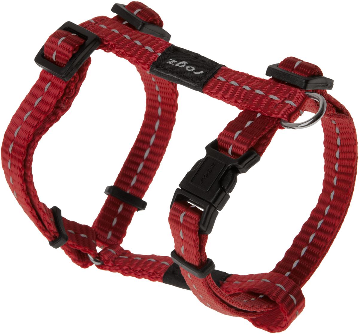 Шлейка для собак Rogz Utility, цвет: красный, ширина 1,1 см. Размер S0120710Шлейка для собак Rogz Utility со светоотражающей нитью, вплетенной в нейлоновую ленту, обеспечивает лучшую видимость собаки в темное время суток. Специальная конструкция пряжки Rog Loc - очень крепкая (система Fort Knox). Замок может быть расстегнут только рукой человека. Технология распределения нагрузки позволяет снизить нагрузку на пряжки, изготовленные из титанового пластика, с помощью правильного и разумного расположения грузовых колец, благодаря чему, даже при самых сильных рывках, изделие не рвется и не деформируется.Выполненные специально по заказу ROGZ литые кольца гальванически хромированы, что позволяет избежать коррозии и потускнения изделия.