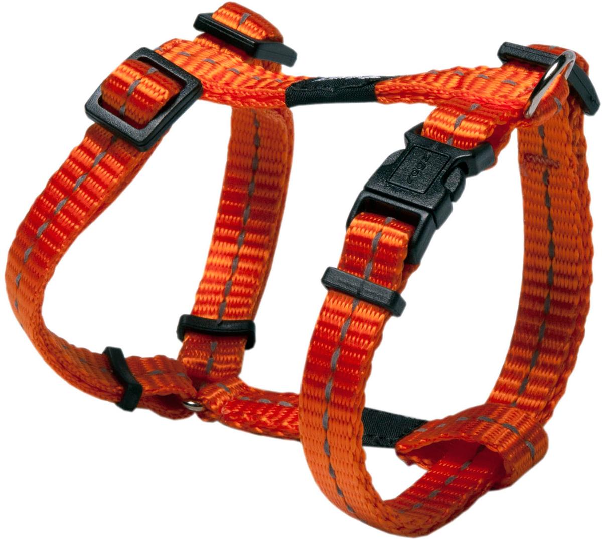 Шлейка для собак Rogz Utility, цвет: оранжевый, ширина 1,1 см. Размер S101246Шлейка для собак Rogz Utility со светоотражающей нитью, вплетенной в нейлоновую ленту, обеспечивает лучшую видимость собаки в темное время суток. Специальная конструкция пряжки Rog Loc - очень крепкая (система Fort Knox). Замок может быть расстегнут только рукой человека. Технология распределения нагрузки позволяет снизить нагрузку на пряжки, изготовленные из титанового пластика, с помощью правильного и разумного расположения грузовых колец, благодаря чему, даже при самых сильных рывках, изделие не рвется и не деформируется.Выполненные специально по заказу ROGZ литые кольца гальванически хромированы, что позволяет избежать коррозии и потускнения изделия.