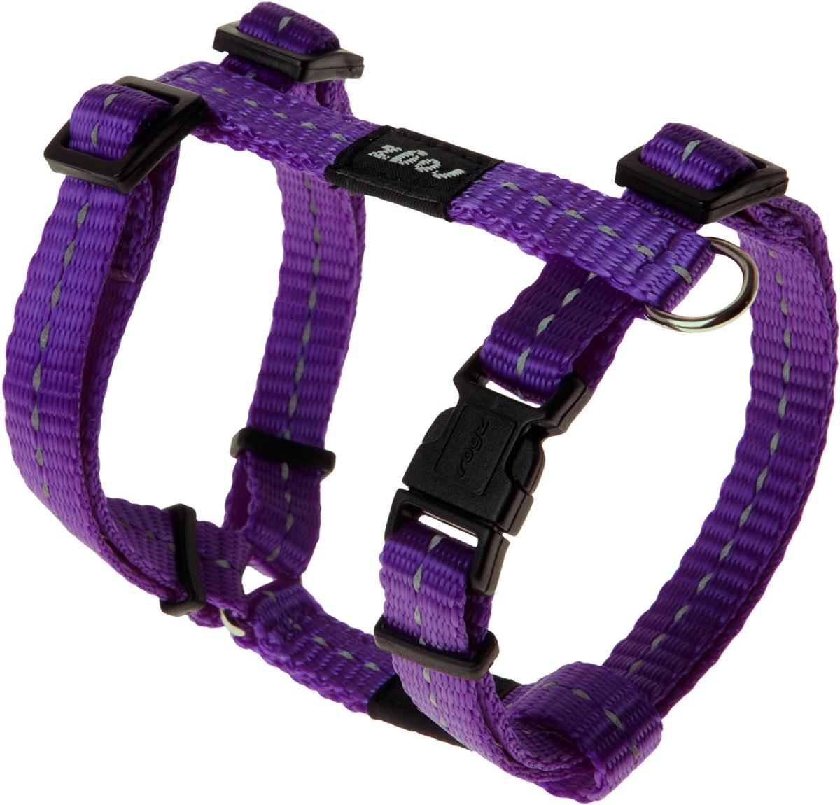 Шлейка для собак Rogz Utility, цвет: фиолетовый, ширина 1,1 см. Размер S12171996Шлейка для собак Rogz Utility со светоотражающей нитью, вплетенной в нейлоновую ленту, обеспечивает лучшую видимость собаки в темное время суток. Специальная конструкция пряжки Rog Loc - очень крепкая (система Fort Knox). Замок может быть расстегнут только рукой человека. Технология распределения нагрузки позволяет снизить нагрузку на пряжки, изготовленные из титанового пластика, с помощью правильного и разумного расположения грузовых колец, благодаря чему, даже при самых сильных рывках, изделие не рвется и не деформируется.Выполненные специально по заказу ROGZ литые кольца гальванически хромированы, что позволяет избежать коррозии и потускнения изделия.