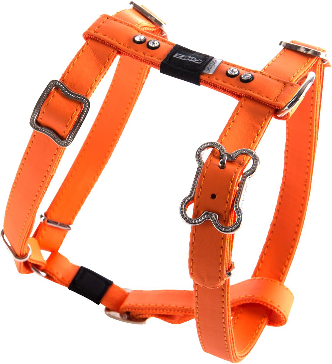 Шлейка для собак Rogz Luna, цвет: оранжевый, ширина 1,6 см. Размер MSJ503DШлейка для собак Rogz Luna обладает нежнейшей мягкостью и гибкостью.Авторский дизайн, яркие цвета, изысканные декоративные элементы со стразами.Шлейка подчеркнет индивидуальность вашей собаки.