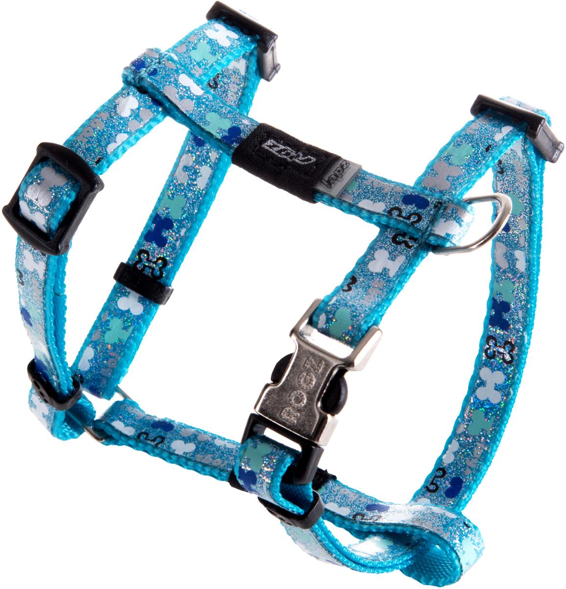 Шлейка для собак Rogz  Trendy , цвет: голубой, ширина 0,8 см. Размер XS