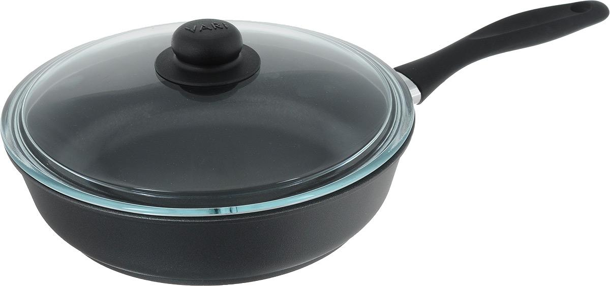 Сковорода Vari Cerama с крышкой, с антипригарным покрытием. Диаметр 26 смVS-2241_фиолетовыйСковорода Vari Cerama выполнена из алюминия с антипригарным покрытием. Утолщенное дно обеспечивает равномерное распределение и длительное сохранение тепла. Жаростойкое внешнее покрытие позволяет использовать сковороды на стеклокерамических поверхностях. Не выделяет вредных веществ! Не содержит PFOA. Изделие оснащено ручкой, выполненной из прорезиненного пластика. Такая ручка не нагревается в процессе готовки и обеспечивает надежный хват. Крышка, изготовленная из жаропрочного стекла, позволяет следить за приготовлением пищи без потери тепла. Сковорода Vari Cerama станет незаменимой помощницей на кухне и прослужит долгие годы. Подходит для газовых, электрических и стеклокерамических плит. Диаметр сковороды (по верхнему краю) 26 см. Высота стенки: 7 см. Длина ручки: 20 см.