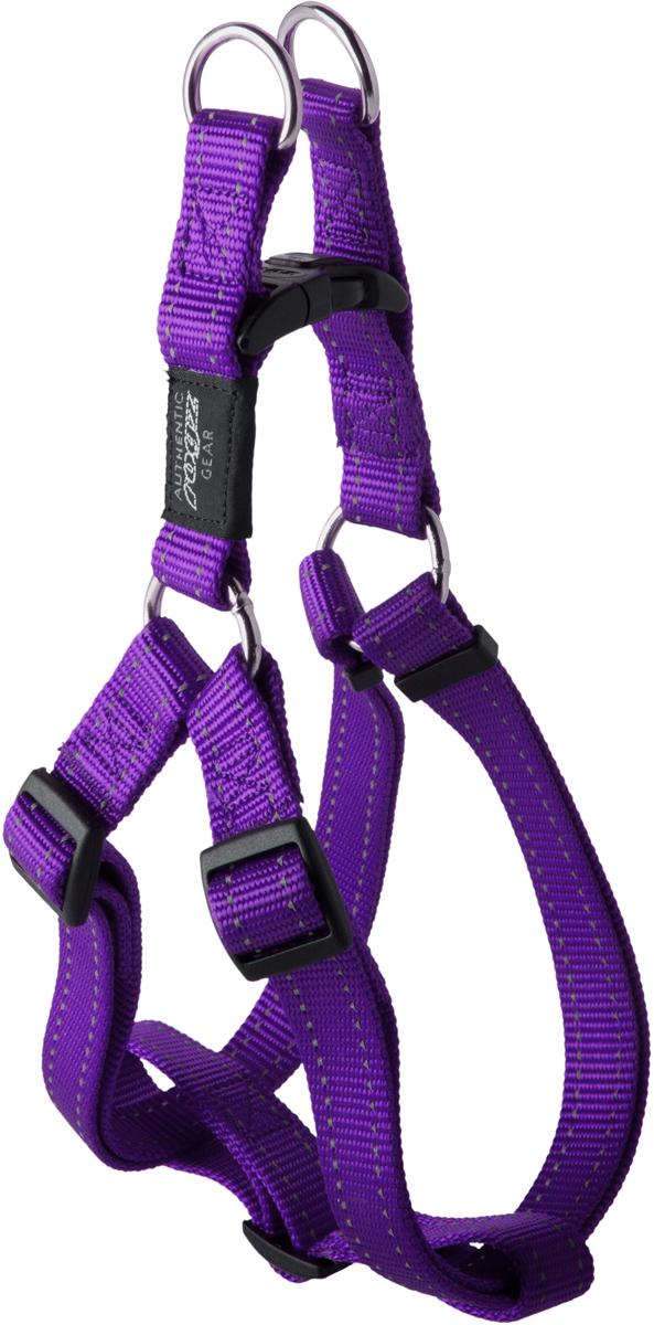 Шлейка для собак Rogz Utility, цвет: фиолетовый, ширина 2,5 см. Размер XL. SSJ05HL03CEШлейка для собак Rogz Utility со светоотражающей нитью, вплетенной в нейлоновую ленту, обеспечивает лучшую видимость собаки в темное время суток. Специальная конструкция пряжки Rog Loc - очень крепкая (система Fort Knox). Замок может быть расстегнут только рукой человека. Технология распределения нагрузки позволяет снизить нагрузку на пряжки, изготовленные из титанового пластика, с помощью правильного и разумного расположения грузовых колец, благодаря чему, даже при самых сильных рывках, изделие не рвется и не деформируется.Выполненные специально по заказу ROGZ литые кольца гальванически хромированы, что позволяет избежать коррозии и потускнения изделия.