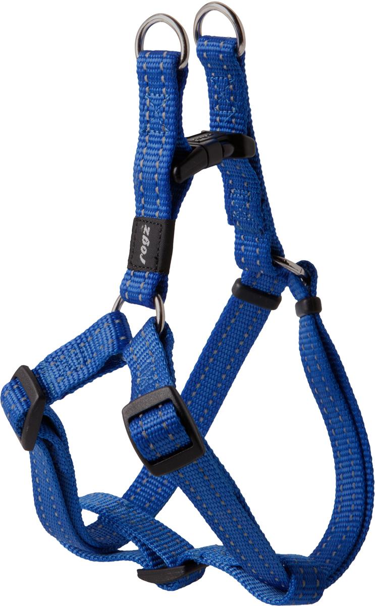 Шлейка разъемная для собак Rogz Utility, цвет: синий, ширина 1,6 см. Размер M0120710Разъемная шлейка для собак Rogz Utility со светоотражающей нитью, вплетенной в нейлоновую ленту, обеспечивает лучшую видимость собаки в темное время суток. Специальная конструкция пряжки Rog Loc - очень крепкая (система Fort Knox). Замок может быть расстегнут только рукой человека. Технология распределения нагрузки позволяет снизить нагрузку на пряжки, изготовленные из титанового пластика, с помощью правильного и разумного расположения грузовых колец, благодаря чему, даже при самых сильных рывках, изделие не рвется и не деформируется.Особые контурные пластиковые компоненты.Выполненные специально по заказу Rogz литые кольца гальванически хромированы, что позволяет избежать коррозии и потускнения изделия.