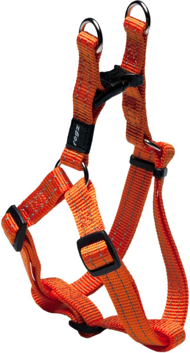 Шлейка разъемная для собак Rogz Utility, цвет: оранжевый, ширина 1,6 см. Размер MSSJ11DРазъемная шлейка для собак Rogz Utility со светоотражающей нитью, вплетенной в нейлоновую ленту, обеспечивает лучшую видимость собаки в темное время суток. Специальная конструкция пряжки Rog Loc - очень крепкая (система Fort Knox). Замок может быть расстегнут только рукой человека. Технология распределения нагрузки позволяет снизить нагрузку на пряжки, изготовленные из титанового пластика, с помощью правильного и разумного расположения грузовых колец, благодаря чему, даже при самых сильных рывках, изделие не рвется и не деформируется.Особые контурные пластиковые компоненты.Выполненные специально по заказу Rogz литые кольца гальванически хромированы, что позволяет избежать коррозии и потускнения изделия.