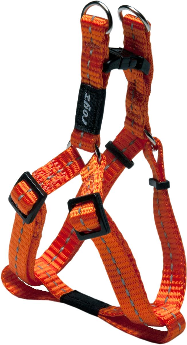 Шлейка разъемная для собак Rogz Utility, цвет: оранжевый, ширина 1,1 см. Размер S0120710Разъемная шлейка для собак Rogz Utility со светоотражающей нитью, вплетенной в нейлоновую ленту, обеспечивает лучшую видимость собаки в темное время суток. Специальная конструкция пряжки Rog Loc - очень крепкая (система Fort Knox). Замок может быть расстегнут только рукой человека. Технология распределения нагрузки позволяет снизить нагрузку на пряжки, изготовленные из титанового пластика, с помощью правильного и разумного расположения грузовых колец, благодаря чему, даже при самых сильных рывках, изделие не рвется и не деформируется.Особые контурные пластиковые компоненты.Выполненные специально по заказу Rogz литые кольца гальванически хромированы, что позволяет избежать коррозии и потускнения изделия.