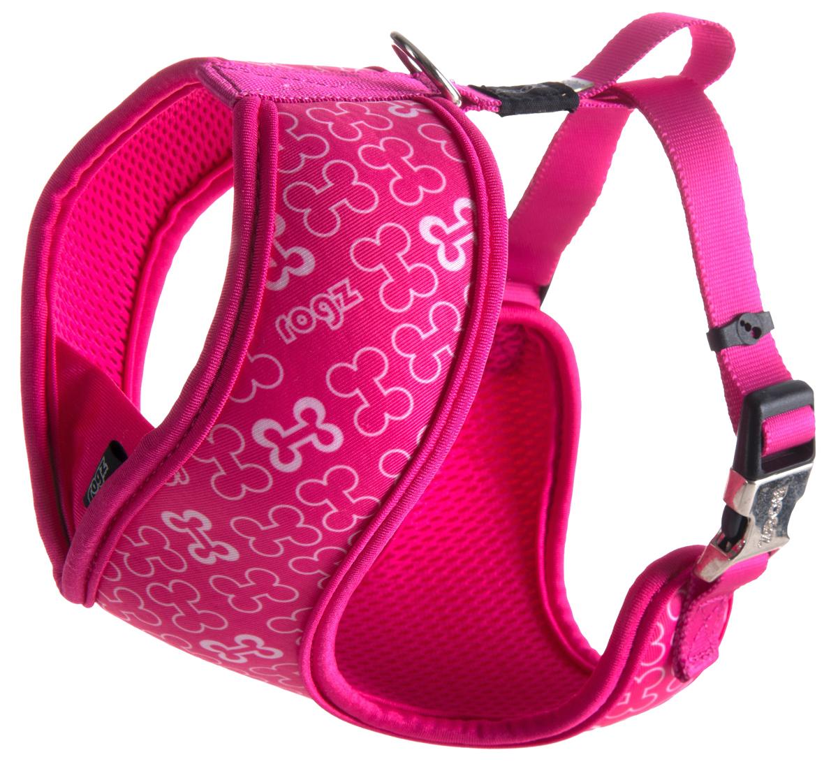 Шлейка-манишка для собак Rogz Trendy, цвет: розовый. Размер M12171996Шлейка-манишка для собак Rogz Trendy - мягкость для шеи, удобство и комфорт.Сохраняет шерстку в идеальном состоянии.Широкие элементы изделия позволят равномерно распределить нагрузку на шлейку при рывках, обеспечивая, тем самым, здоровье любимцу и целостность изделию.Шлейка полностью отражает свет.