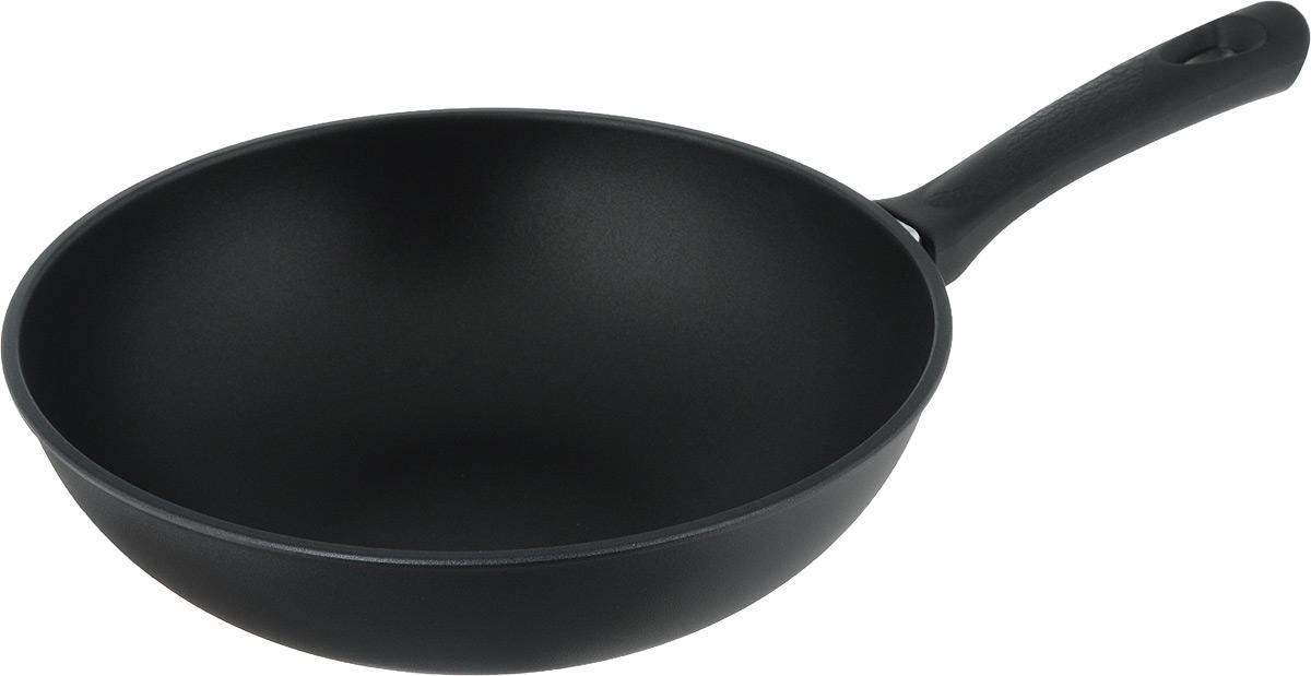 Сковорода-вок Vari, с антипригарным покрытием, цвет: черный. Диаметр 28 см391602Сковорода-вок Vari изготовлена из алюминия с высококачественным антипригарным покрытием. Не содержит вредных примесей, что способствует здоровому и экологичному приготовлению пищи. Кроме того, с таким покрытием пища не пригорает и не прилипает к стенкам, поэтому можно готовить с минимальным добавлением масла и жиров. Гладкая, идеально ровная поверхность сковороды легко чистится.Подходит для использования на всех типах плит, кроме индукционных.Высота стенки: 8 см.