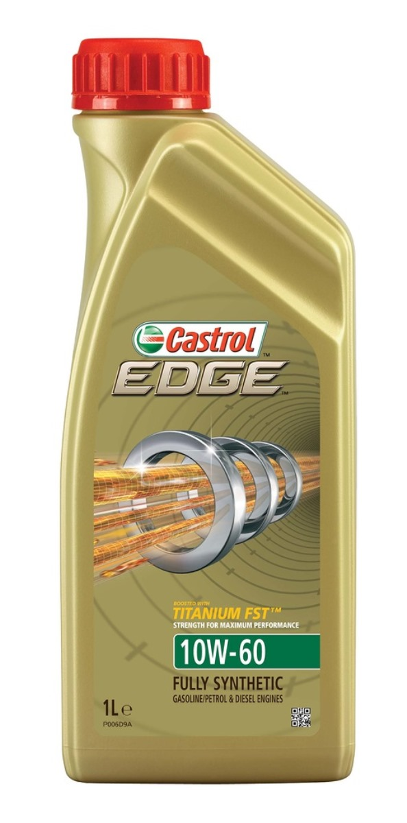 Моторное масло Castrol EDGE 10W-60, синтетическое, 1 л80621Полностью синтетическое моторное масло Castrol EDGE произведено с использованием новейшей технологии TITANIUM FST, придающей масляной пленке дополнительную силу и прочность благодаря соединениям титана. TITANIUM FST радикально меняет поведение масла в условиях экстремальных нагрузок, формируя дополнительный ударопоглощающий слой. Испытания подтвердили, что TITANIUM FST в 2 раза увеличивает прочность пленки, предотвращая ее разрыв и снижая трение для максимальной производительности двигателя. С Castrol EDGE Ваш автомобиль готов к любым испытаниям независимо от дорожных условий.
