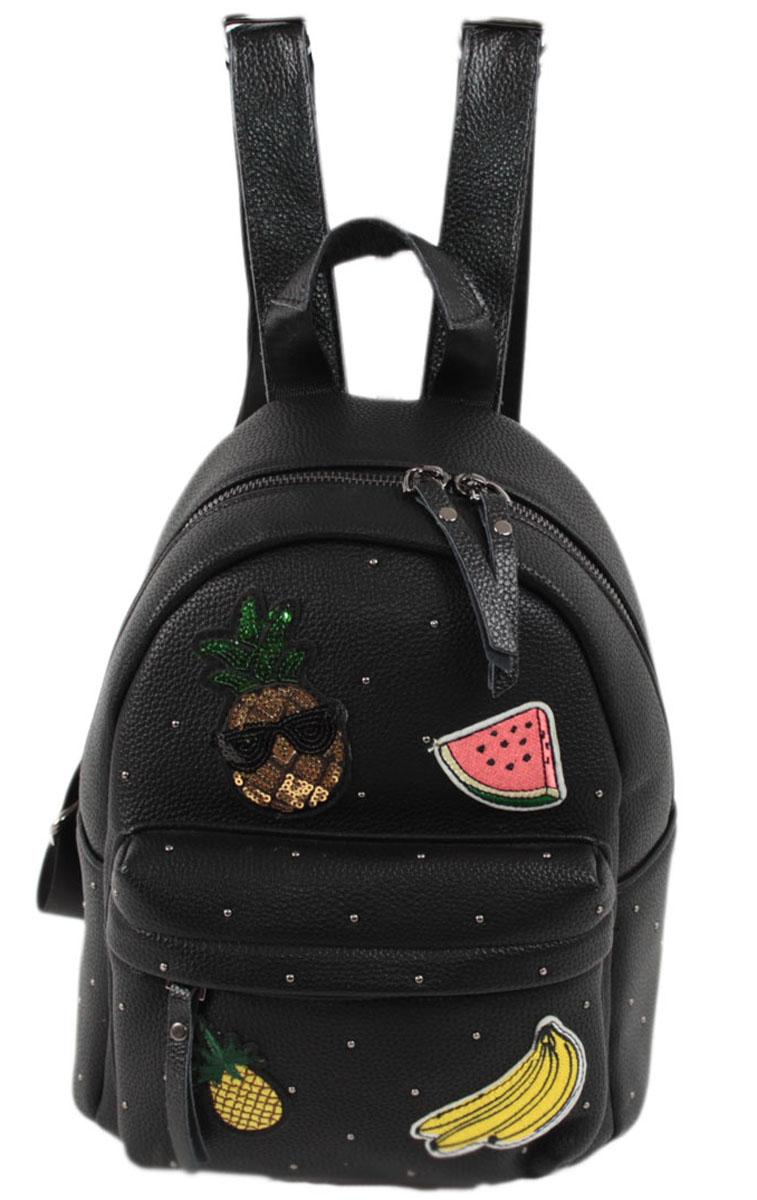 Рюкзак женский Flioraj, цвет: черный. 66823008Закрывается на молнию. Внутри одно отделение, открытый карман, карман на молнии. Высота ручки 7 см.