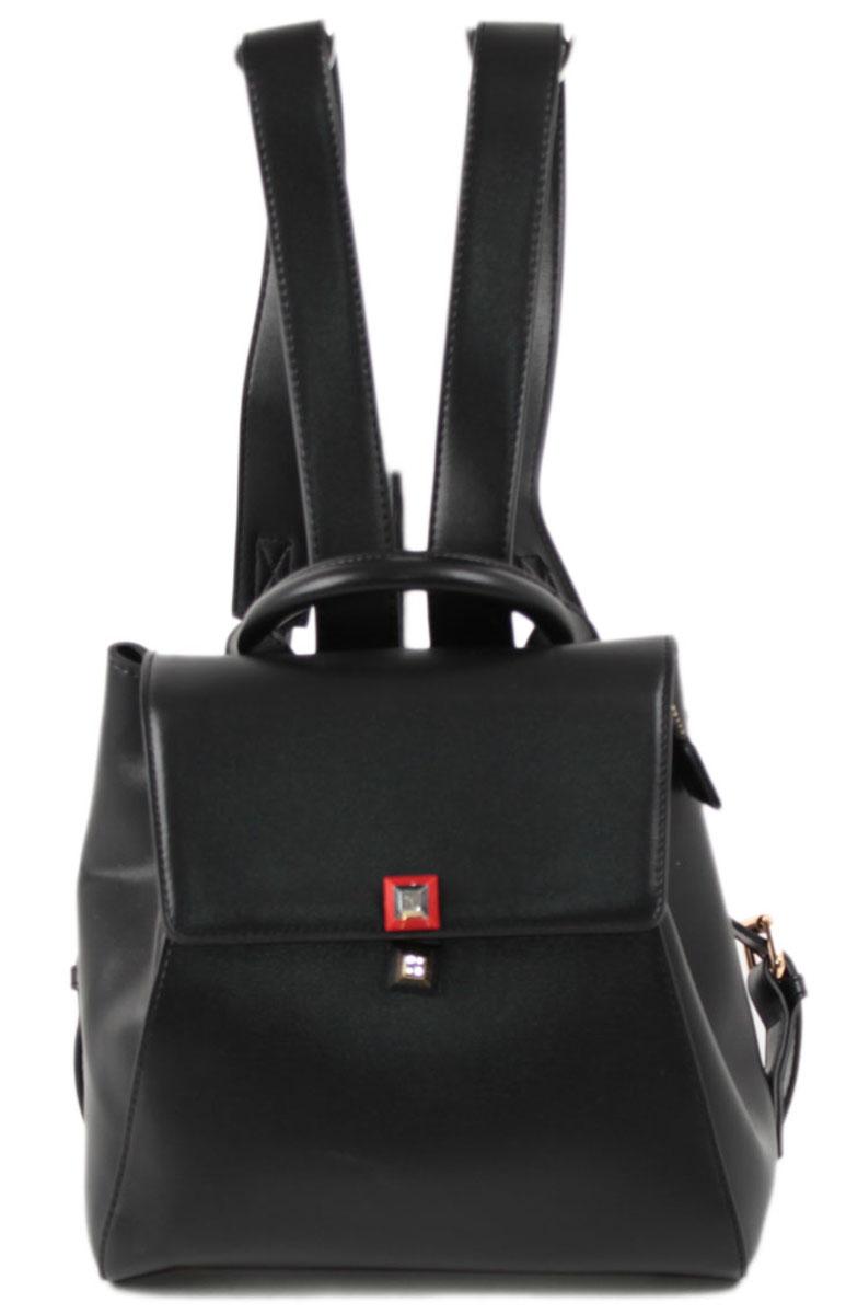 Рюкзак женский Flioraj, цвет: черный. 129523008Закрывается на магнитные кнопки и молнию. Внутри два отделения, два кармана на молнии, один открытый карман. Высота ручки 8 см.