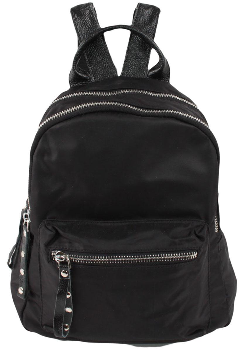Рюкзак женский Flioraj, цвет: черный. 1832S76245Закрывается на молнию. Внутри два отделения, два кармана для мобильного телефона, карман на молнии, снаруди два кармана на молнии. Высота ручки 8 см.