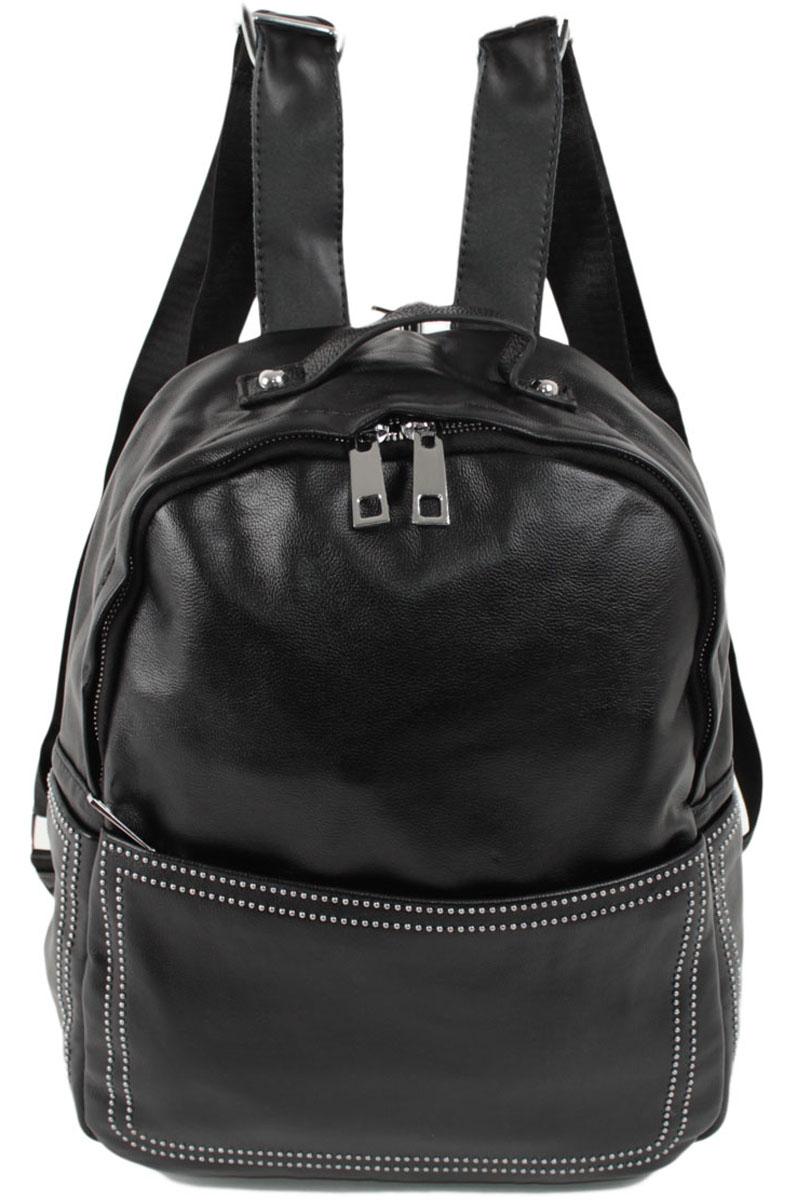 Рюкзак женский Flioraj, цвет: черный. 901101225Закрывается на молнию. Внутри одно отделение, два кармана для мобильного телефона, карман на молнии, снаружи карман на молнии. Высота ручки 5 см.
