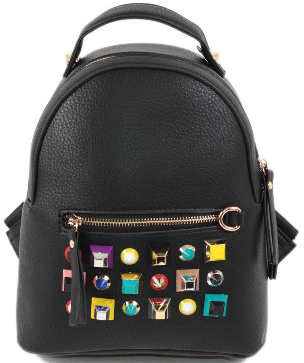 Рюкзак женский Flioraj, цвет: черный. 063310130-11Закрывается на молнию. Внутри одно отделение, один карман на молнии, снаружи карман на молнии. Высота ручки 5 см.