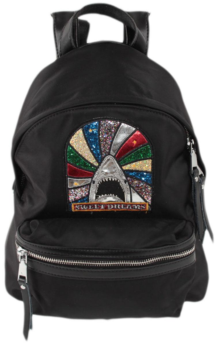 Рюкзак женский Flioraj, цвет: черный. 8112SS76245Закрывается на молнию. Внутри одно отделение, один открытый карман, карман на молнии, снаружи карман на молнии. Высота ручки 4 см.