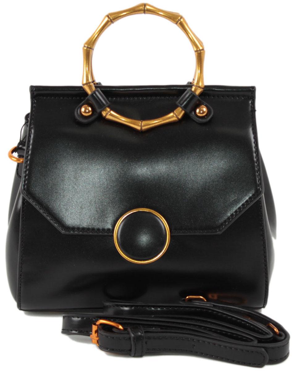 Клатч женский Flioraj, цвет: черный. 8581BM8434-58AEЗакрывается на магнитную кнопку. Внутри два отделения, карман на молнии. В комплекте наплечный ремень. Высота ручек 7 см.