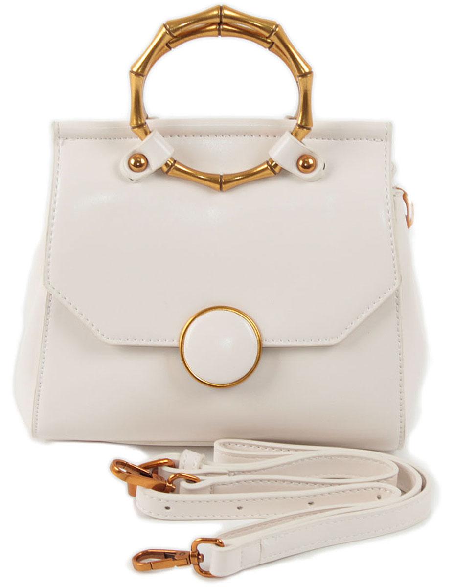 Клатч женский Flioraj, цвет: белый. 8581BM8434-58AEЗакрывается на магнитную кнопку. Внутри два отделения, карман на молнии. В комплекте наплечный ремень. Высота ручек 7 см.