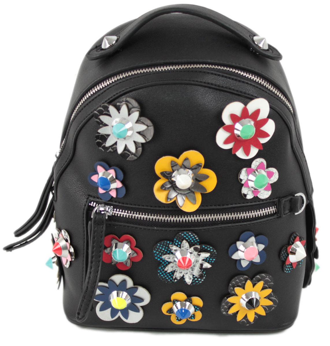 Рюкзак женский Flioraj, цвет: черный. 8157RivaCase 8460 blackЗакрывается на молнию. Внутри одно отделение, открытый карман, карман на молнии, снаружи карман на молнии. Высота ручки 5 см.