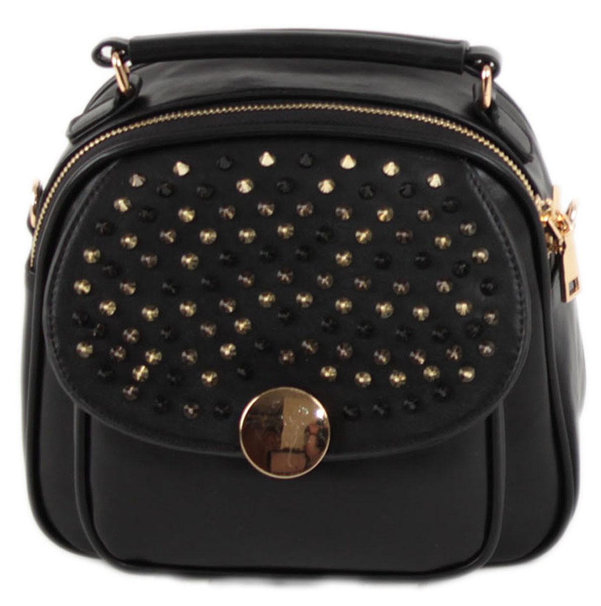 Рюкзак женский Flioraj, цвет: черный. 8919INT-06501Закрывается на молнию. Внутри одно отделение, два кармана для мобильного телефона, карман на молнии, снаружи карман на молнии и карман на декоративном замке. Высота ручки 5 см.