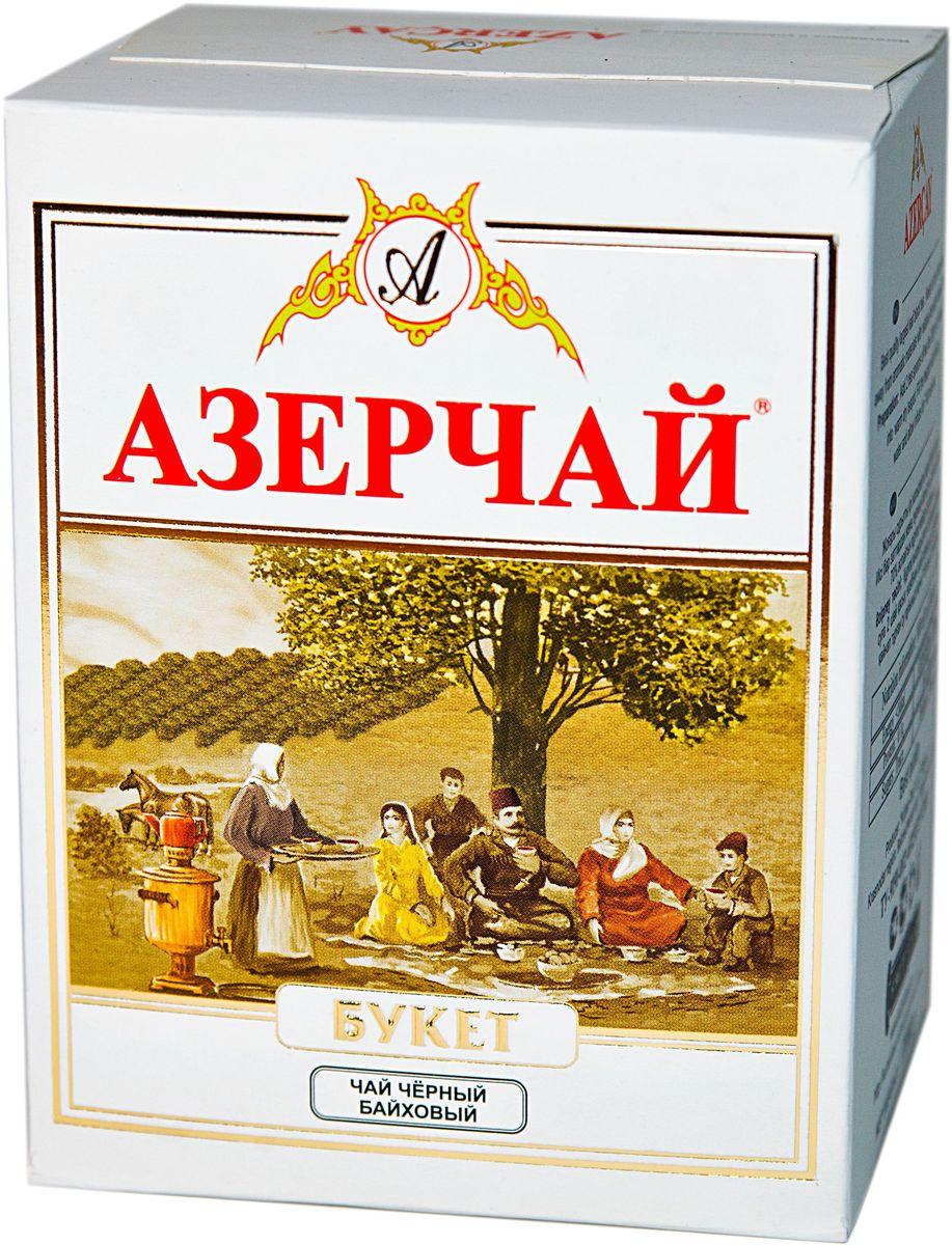Азерчай Букет чай черный листовой, 100 г0120710Чай черный байховый крупнолистовой высшего сорта. Смесь чаев из регионов Азербайджана Ленкоран и Астара. Способ приготовления: заварить из расчета 1 чайная ложка на чашку. Настаивать 5-6 минут.