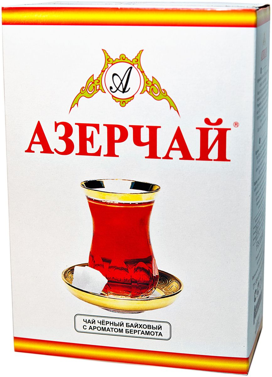 Азерчай чай черный листовой, 400 г101246Черный байховый чай с ароматом бергамота. Хранить в сухом помещении от пахучих веществ, при относительной влажности не более 70%. Способ приготовления: в сухой разогретый чайник добавить чай из расчета 2 чайные ложки на каждые 200 мл воды, залить чайник кипятком и дать настояться 6-7 минут.