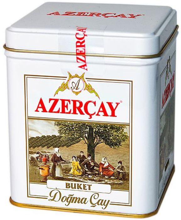 Azercay Buket чай черный листовой, 100 г4760062100860Чай черный байховый крупнолистовой высшего сорта. Смесь чаев из регионов Азербайджана Ленкоран и Астара. Способ приготовления: заварить из расчета 1 чайная ложка на чашку. Настаивать 5-6 минут.
