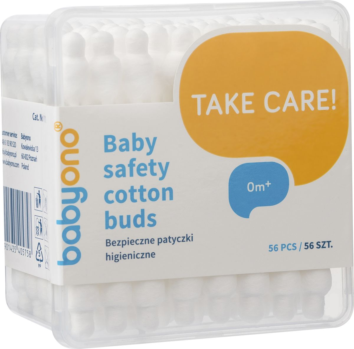 BabyOno Ватные палочки с ограничителем 56 шт28032022Детские ватные палочки от BabyOno идеально подходят для гигиены вашего малыша. Каждая палочка имеет ограничитель, для дополнительной безопасности при использовании, плотную намотку, которая изготовлена изнатурального хлопка. Подходят для использования спервых дней жизни.