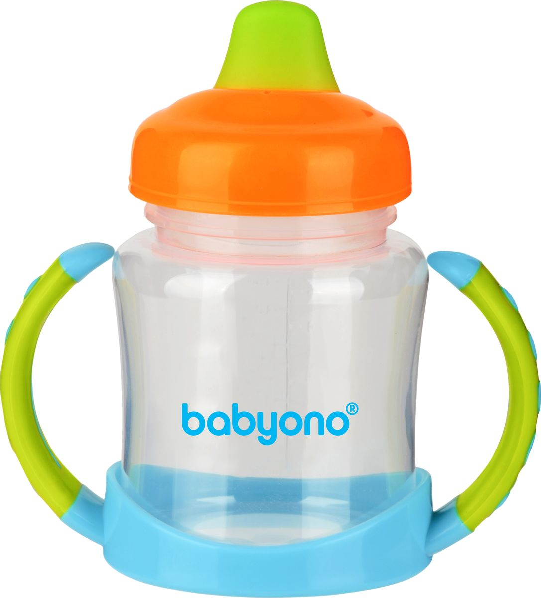 BabyOno Поильник-непроливайка от 6 месяцев цвет оранжевый зеленый 180 мл