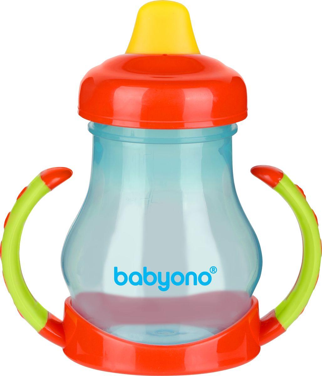 BabyOno Поильник-непроливайка от 6 месяцев цвет красный зеленый 180 мл