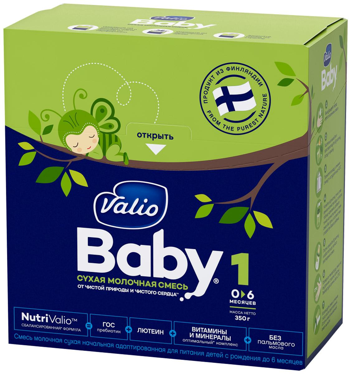 Valio Baby 1 смесь молочная с рождения, 350 г0120710Энергетическая ценность 513 ккал. Продукт хранить при температуре от 0°C до +25°С и относительной влажности воздуха не более 75%. После вскрытия упаковки хранить сухую смесь не более 3 недель в сухом, прохладном месте, но не в холодильнике.