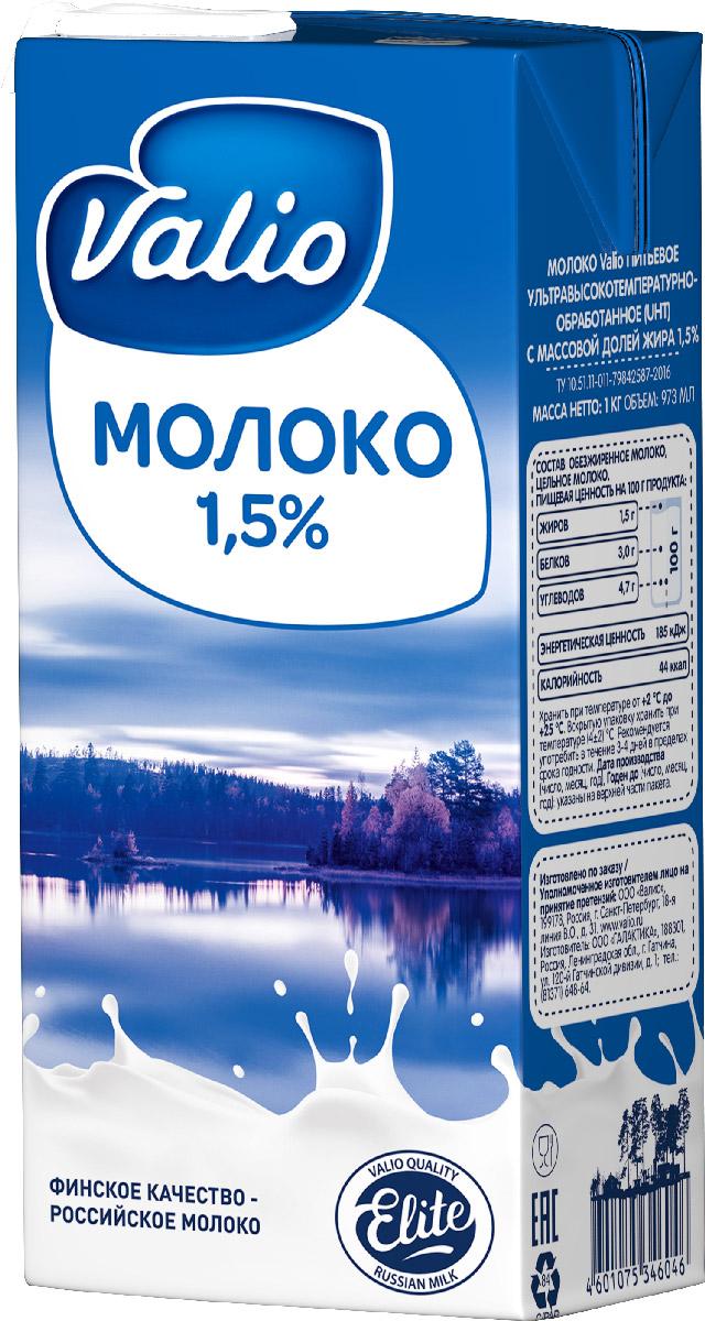 Valio молоко 1,5%, 1 л586778Обезжиренное молоко, цельное молоко. Пищевая ценность на 100 г продукта содержится: белков – 3 г; углеводов – 4,7 г; жиров – 1,5 г. Энергетическая ценность/калорийность – 185 кДж/44 ккал.